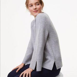 Loft Grey Slit Mockneck Soft Sweater